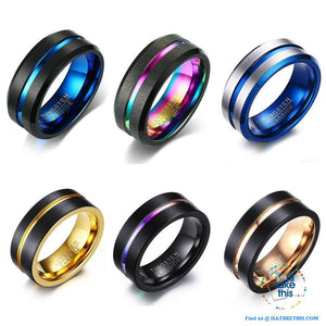 👨 Men's 8mm Black Brushed Tungsten Rings with Concentric grove - 7 Color variations