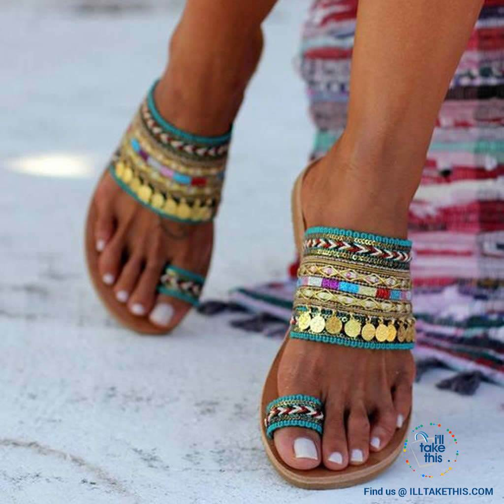 Handmade Women's Woven Bohemian Beach Sandals/Flip Flops - I'LL TAKE THIS