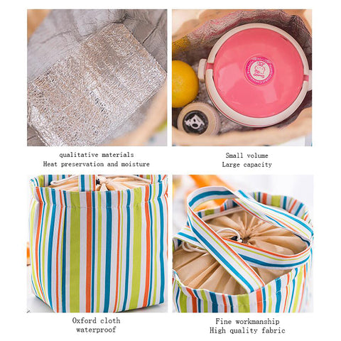 Stripe Pattern Lunch Bags Insulated Cold Canvas Drawstring Picnic Carry Case Thermal Lunch Bag - I'LL TAKE THIS