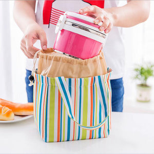 Stripe Pattern Lunch Bags Insulated Cold Canvas Drawstring Picnic Carry Case Thermal Lunch Bag