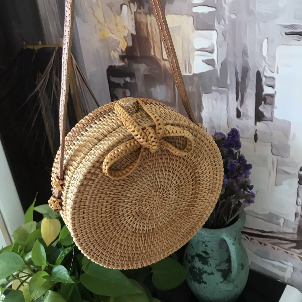 Bohemian Circular Beach Bag Hand Woven Straw + Round Butterfly Rattan buckle with real leather strap - I'LL TAKE THIS