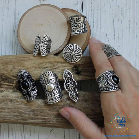Image of Set of 8 Bohemian Vintage Boho Jewelry Rings - I'LL TAKE THIS