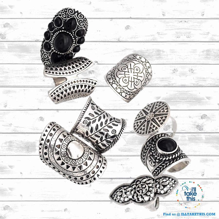 Set of 8 Bohemian Vintage Boho Jewelry Rings - I'LL TAKE THIS