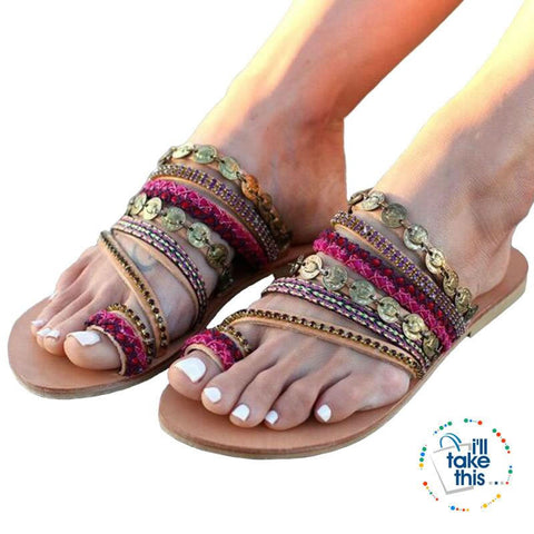 Image of Boho Style Beach Slip on Sandals, Vintage Summer Flip Flops Gorgeous Design - Big Sizes available - I'LL TAKE THIS