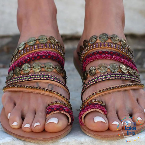 Boho Style Beach Slip on Sandals, Vintage Summer Flip Flops Gorgeous Design - Big Sizes available - I'LL TAKE THIS