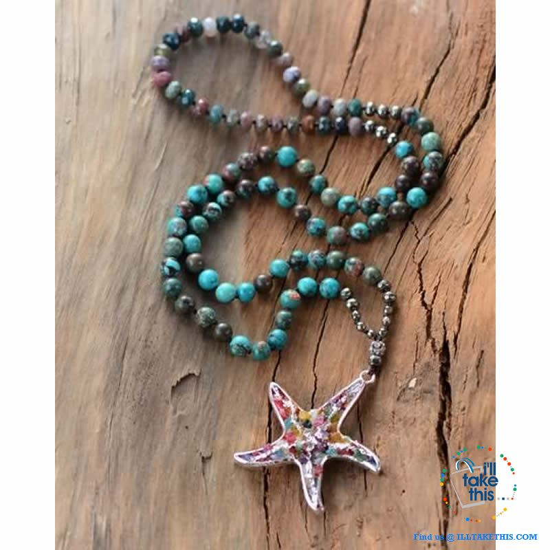 Bohemian-inspired Starfish Necklaces - Multicolored Beaded Pendant Necklaces - I'LL TAKE THIS