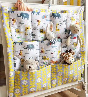 Baby Cot Bed Hanging Storage Bag Organizer. Toy Diaper Pocket for Crib Bedding Set - Size 60 x 50cm / 23.6