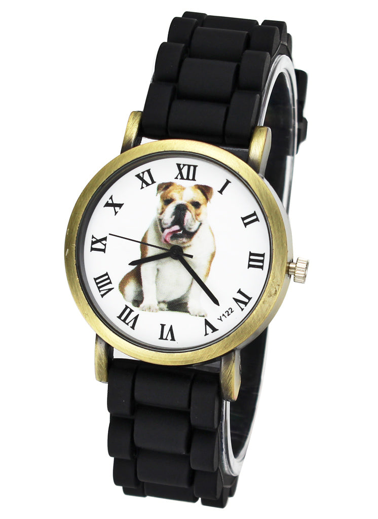 British Bulldog Women Watches casual Silicone Band Unisex Quartz Wrist Watch in black or white - I'LL TAKE THIS