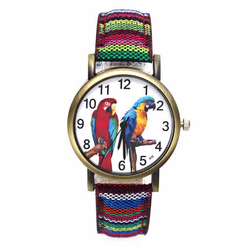 Image of Colorful 2 Parrot Parakeet Pet Bird Animal Watches for Women with Fashion Stripes Denim Wristband - I'LL TAKE THIS