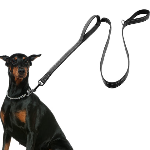 "Image of Dog Leash 56""/142cm  - 2 Handles Black Nylon Padded Double Handle Leash - I'LL TAKE THIS"