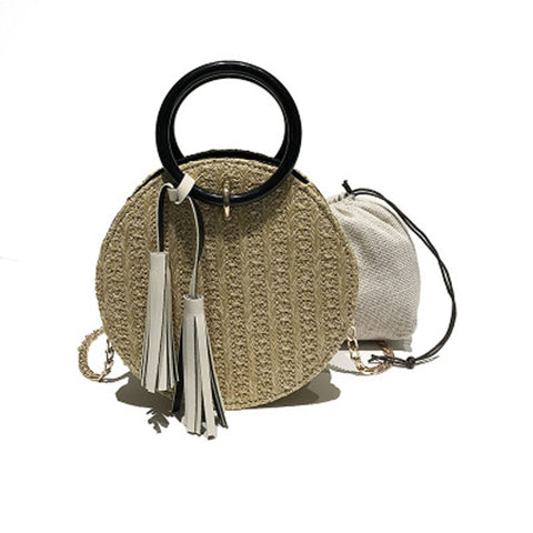 Image of Round Stylish Straw Bag Handbag with Small Chain Shoulder Strap 3 Colors - I'LL TAKE THIS