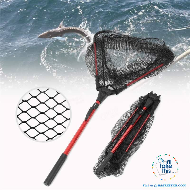 Ultra-light Portable Aluminum Triangular Fishing Net with retractable handle - I'LL TAKE THIS