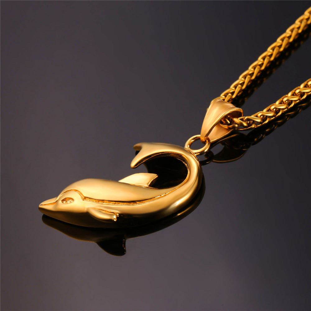 Dolphin Pendant for Men or Women in 3 colors Gold, Black or Stainless Steel + FREE Link Chain - I'LL TAKE THIS