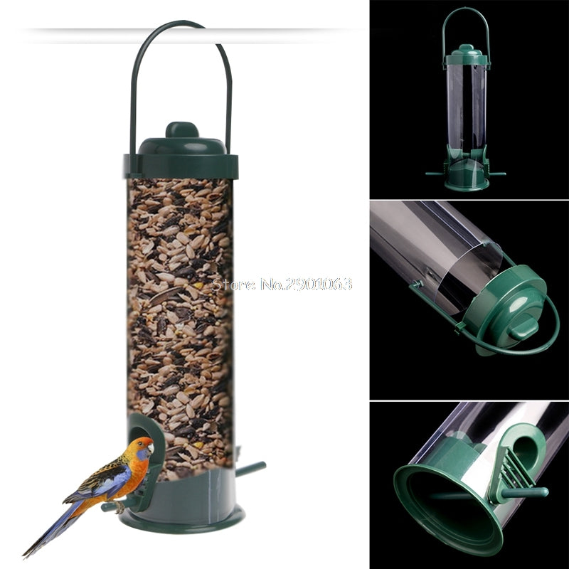 Green Hanging Wild Bird Feeder Seed Container, IDEAL Outdoor Feeding activity for Kids viewing - I'LL TAKE THIS