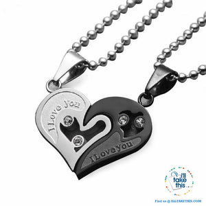 His and Hers Stainless Steel Chain Gold, Silver, Blue or Black Heart Love Necklaces. A real Couples Pendant... - I'LL TAKE THIS