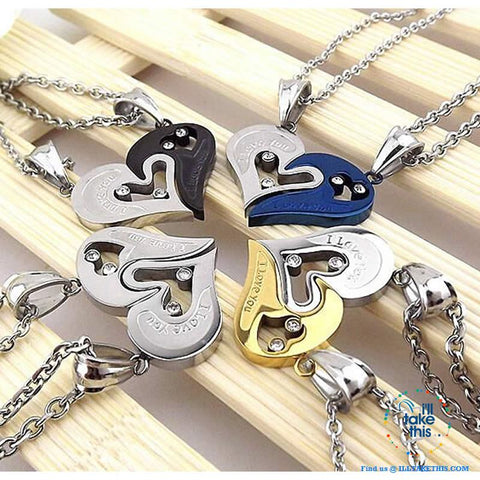 Image of His and Hers Stainless Steel Chain Gold, Silver, Blue or Black Heart Love Necklaces. A real Couples Pendant... - I'LL TAKE THIS