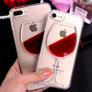 Red Wine Cup Transparent Case for iPhone X, 8/Plus,7/Plus, 6, 6s, iPhone SE Hard Clear Phone Cover