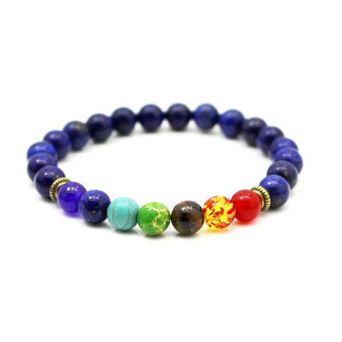 Image of 7 Chakra Bracelet Black Lava Healing Balance Beads Reiki Buddha Prayer Natural Stone Yoga Bracelets - I'LL TAKE THIS