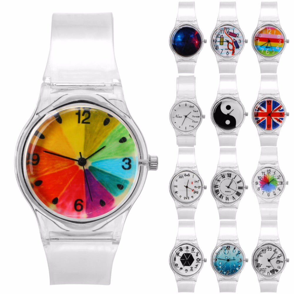 mickey mouse transparent item hollow cartoon watches fashion women casual quartz dress watch