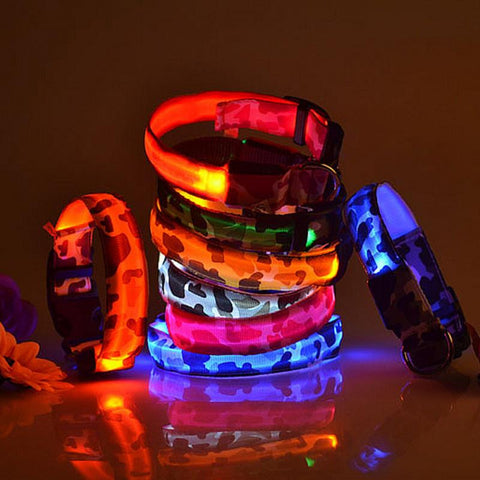 Image of LED Light-up Dog Collars Camouflage Print -  Flashing or Glow In The Dark LED Nylon Pet Collar - I'LL TAKE THIS