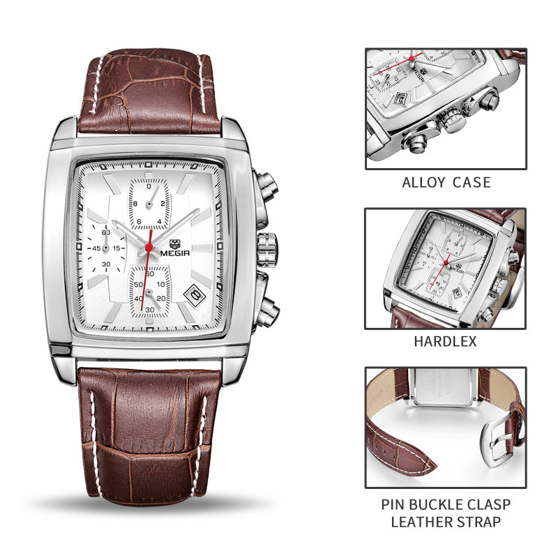 Men's Genuine Leather Luxury Quartz Dress Wristwatch - White or Black - I'LL TAKE THIS