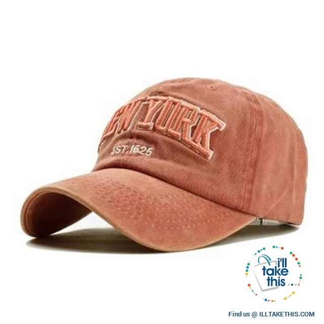 New York embroidery Sand washed 100% cotton baseball caps, Unisex design Caps - 6 Colors - I'LL TAKE THIS