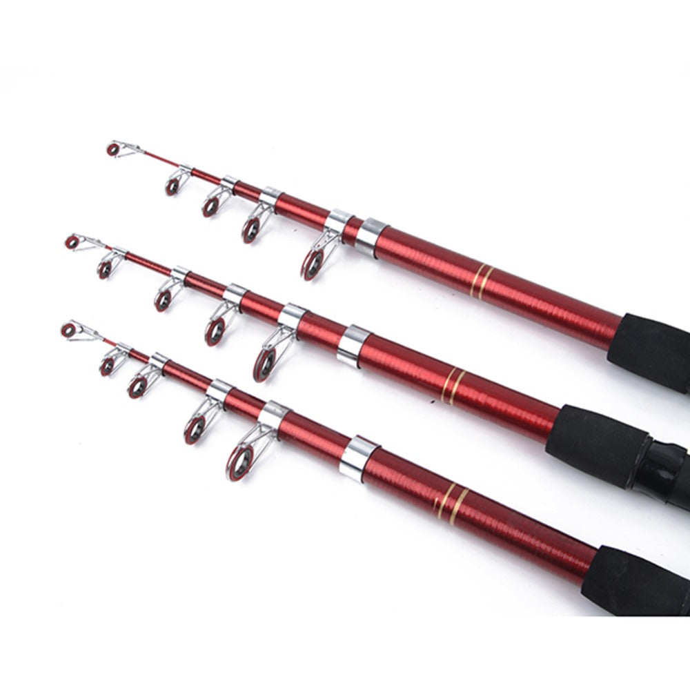 Telescopic Fiberglass fishing Rod in Red/Black IDEAL Fishing Tackle with 6 Sizes - 6ft/11.8ft - I'LL TAKE THIS