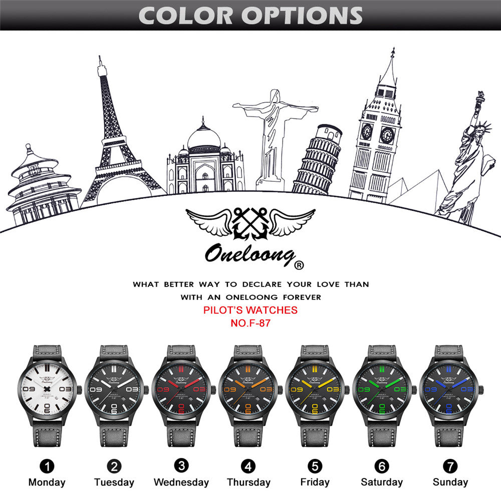 Aviation Pilot Men's Watch, fashion leather strap. Military Quartz Mens Sport Watches in 7 colors - I'LL TAKE THIS