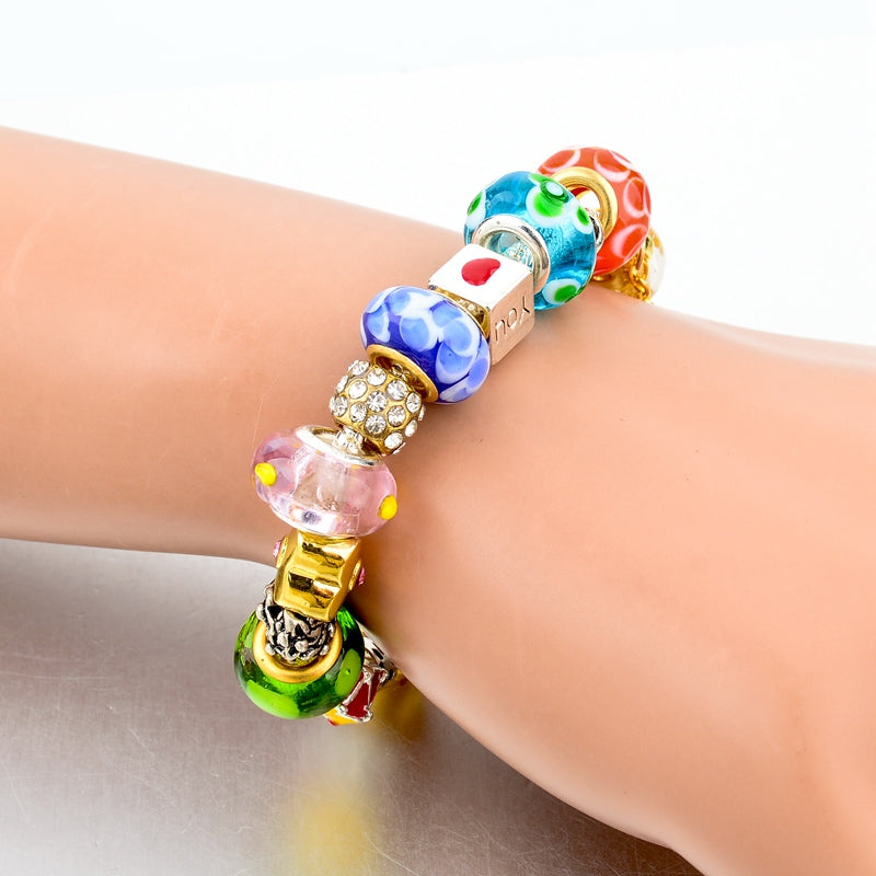 Crystal Flower Multi colored Charm Bracelet Platinum Plated Silver Bracelet, Bangles Jewelry - I'LL TAKE THIS