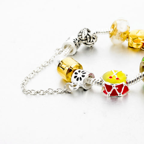 Image of Crystal Flower Multi colored Charm Bracelet Platinum Plated Silver Bracelet, Bangles Jewelry - I'LL TAKE THIS