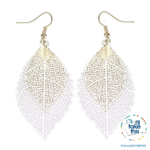 Image of Vintage Style Double Leaves Dangling Earrings with Six color options 💝 - I'LL TAKE THIS