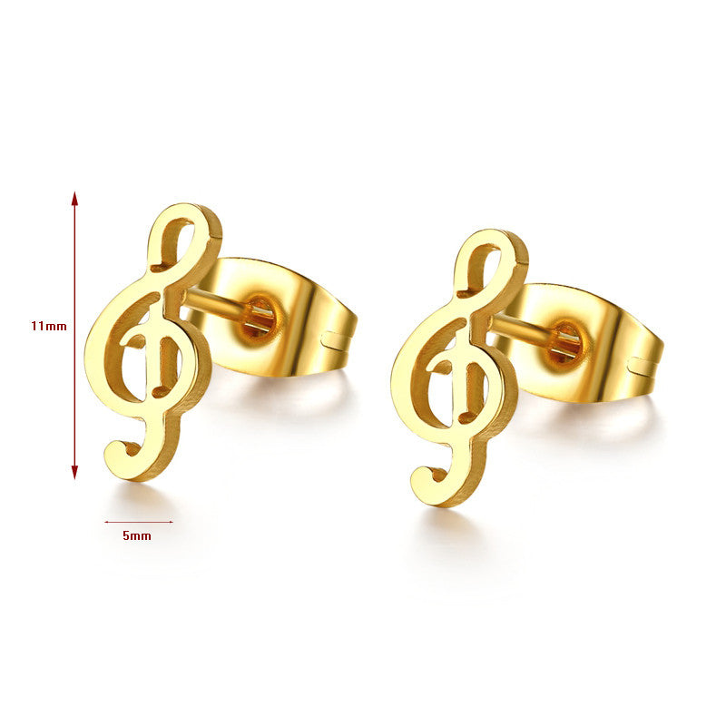 Cute Treble Clef music stud earrings Petite Gold plated stainless steel - I'LL TAKE THIS