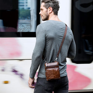 Man Bag in Genuine Leather - Small Messenger Bag with Shoulder Strap/Cross-body - 5 Colors