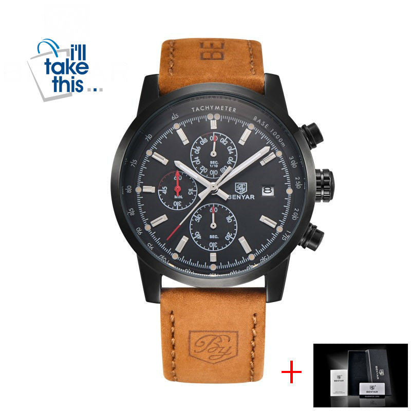 Mens Watches Luxury Sport Wristwatch Chronograph Quartz movement Watch ⌚ - I'LL TAKE THIS
