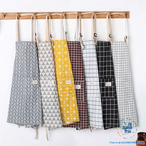 Eco-friendly Cotton Linen Aprons with 2 deep pockets, 7 Designs - I'LL TAKE THIS