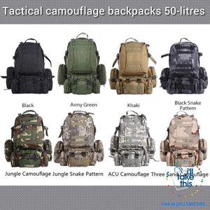Tactical Camouflage Backpack HUGE 50L for Outdoor Sport, Climbing, Hiking, Camping, Travel Sports Bag