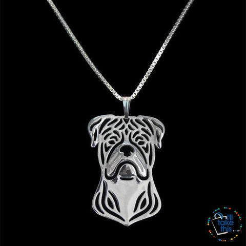 American Bulldog a unique designed Pendant in Silver, Gold or Rose Gold + BONUS Chain - I'LL TAKE THIS