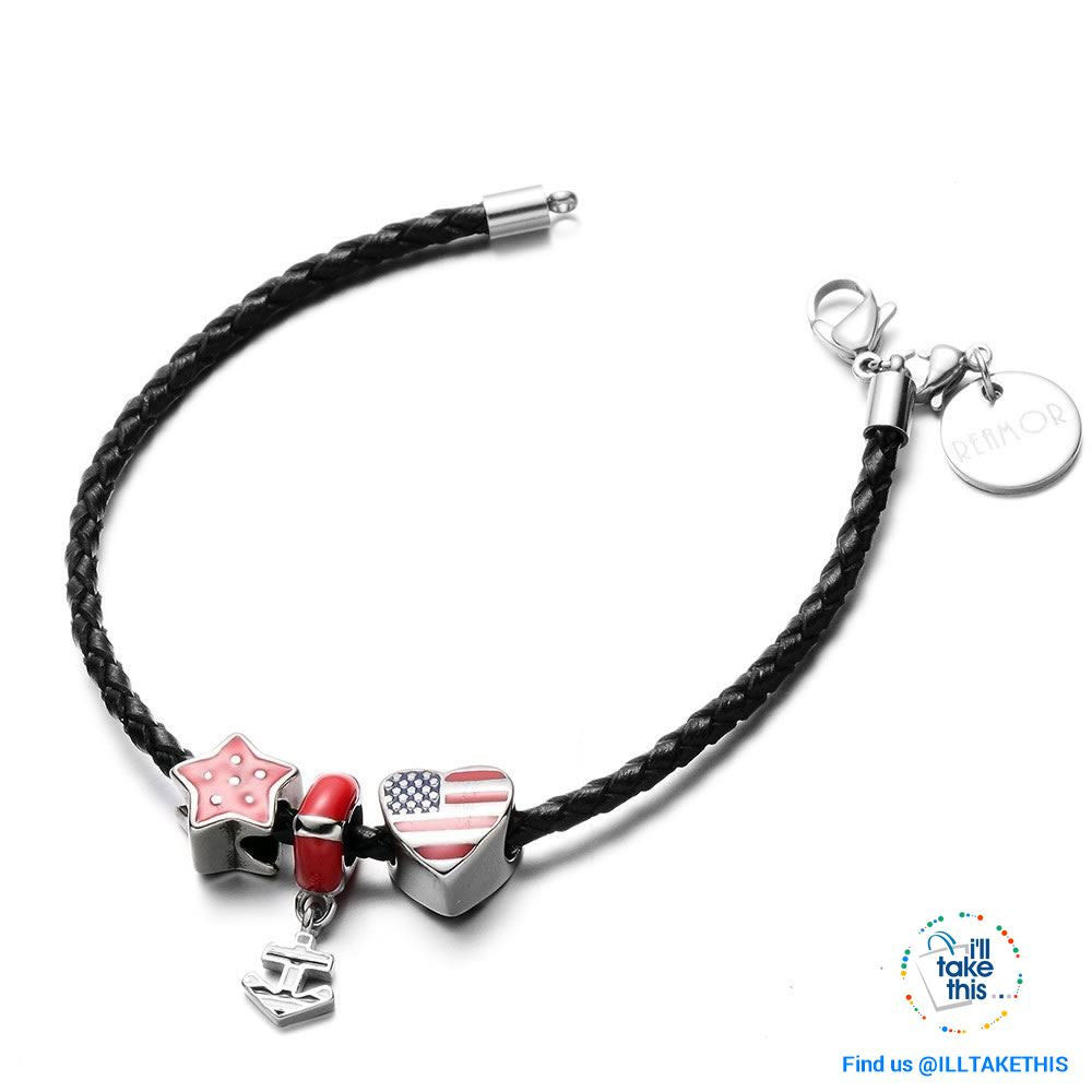 Americana Braided Leather Charm bracelet features an enamel Love Heart American flag - I'LL TAKE THIS