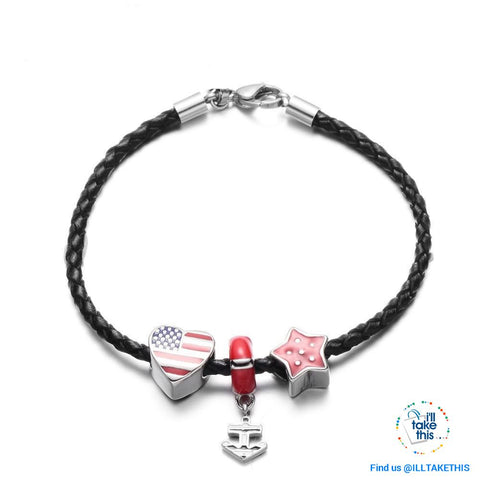 Image of Americana Braided Leather Charm bracelet features an enamel Love Heart American flag - I'LL TAKE THIS