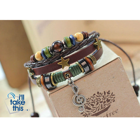 Image of Leather Rope Wrap Bracelet, Punk Rock/Vintage Adjustable Layered Beads Charm Music Note Bracelets - I'LL TAKE THIS