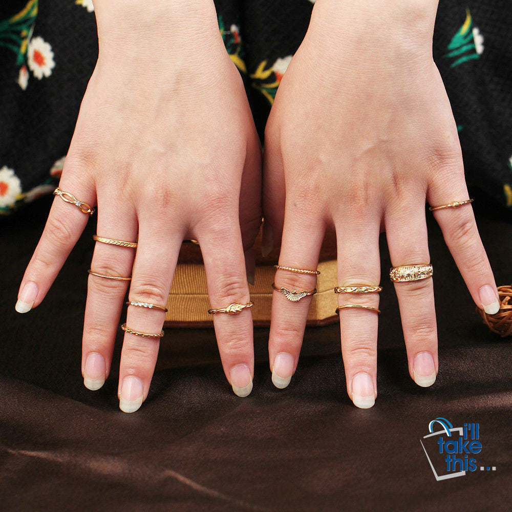 Charm Gold Color Midi Finger Ring Set for Women 12 piece set Vintage Punk Boho Knuckle Party Rings Jewelry - I'LL TAKE THIS