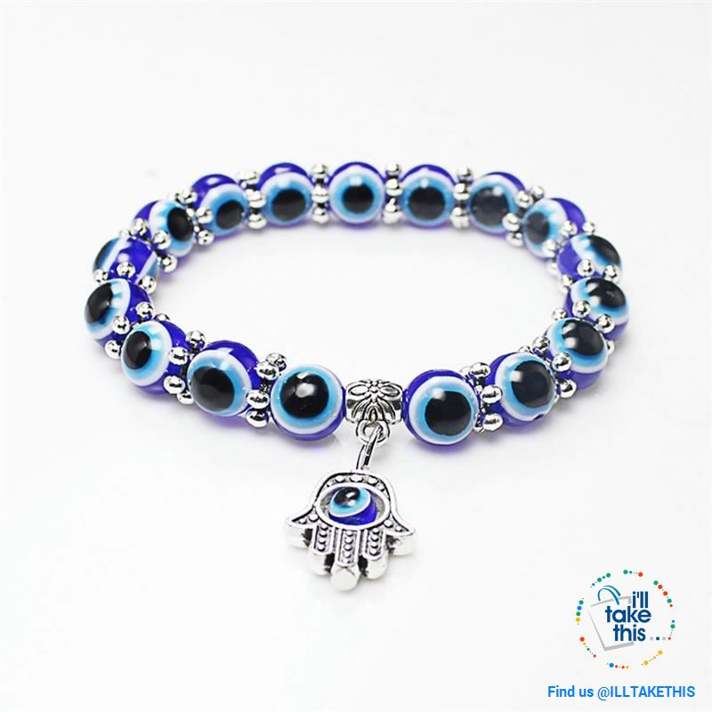 Handmade elasticized Hamsa/Hand of Fatima, evil eye bracelets blue evil eye good Luck bracelet - I'LL TAKE THIS