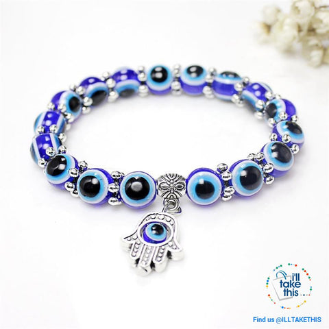 Image of Handmade elasticized Hamsa/Hand of Fatima, evil eye bracelets blue evil eye good Luck bracelet - I'LL TAKE THIS