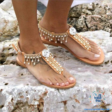 Image of Bohemian Beach Sandals a majestic array of Pearls and Rhinestone center Crystal Flip-flop - I'LL TAKE THIS