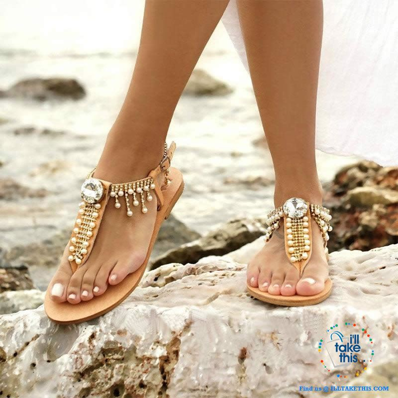 Bohemian Beach Sandals a majestic array of Pearls and Rhinestone center Crystal Flip-flop - I'LL TAKE THIS
