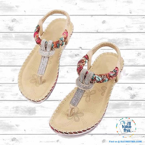 Image of Bohemian Beaded braided Sandals / Flip Flops - Rhinestone and Print Patchwork - I'LL TAKE THIS