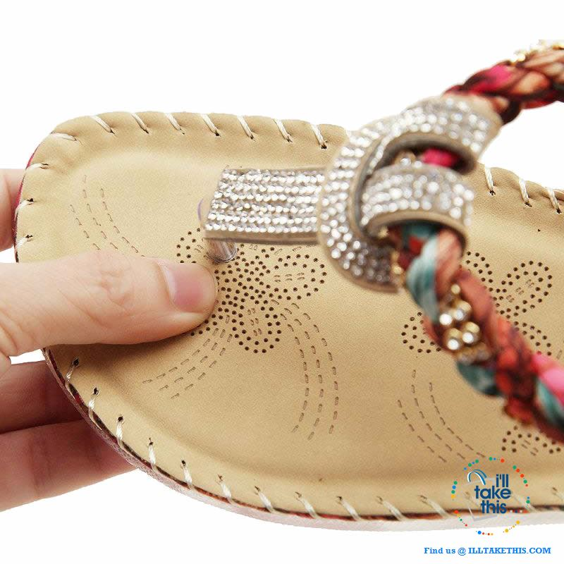Bohemian Beaded braided Sandals / Flip Flops - Rhinestone and Print Patchwork - I'LL TAKE THIS