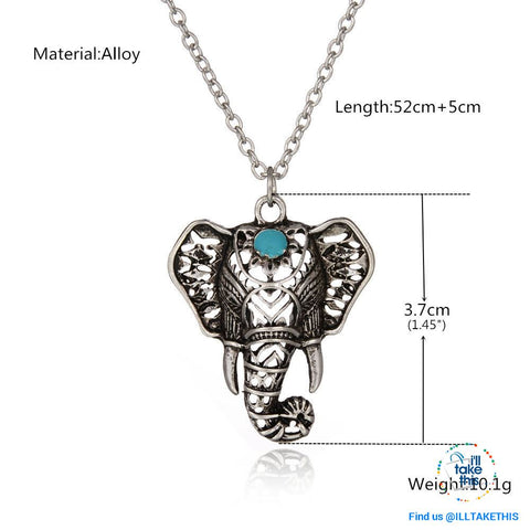 Image of Elephant Pendant Necklace Bohemian/Gypsy/Vintage style Silver plated - I'LL TAKE THIS