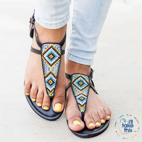 Image of Bohemian Flip Flops, Beach Sandals with Gorgeous handmade Beads in Pink or Black Vegan leather - I'LL TAKE THIS