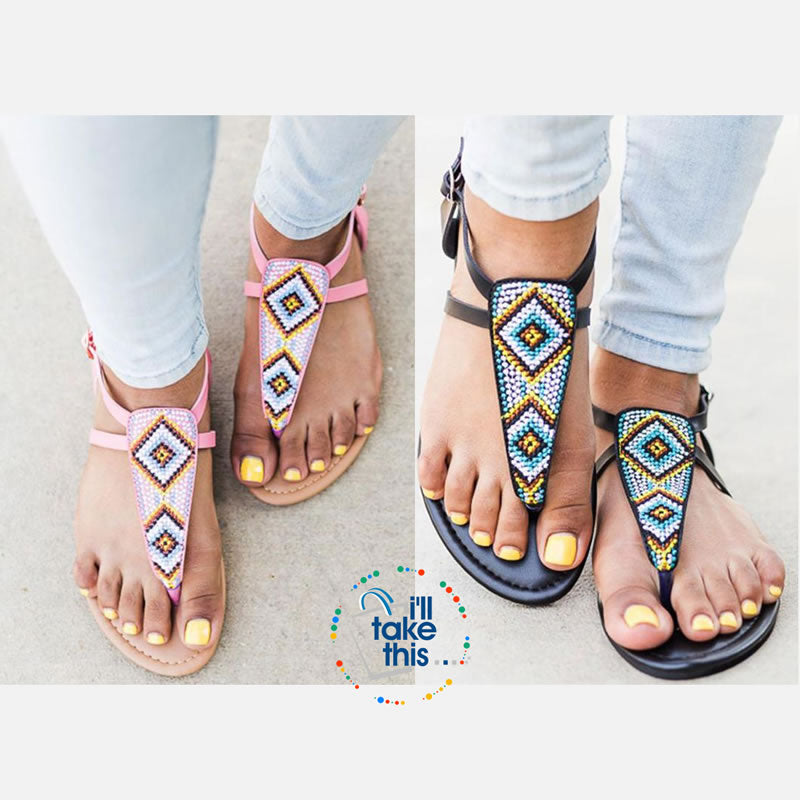 Bohemian Flip Flops, Beach Sandals with Gorgeous handmade Beads in Pink or Black Vegan leather - I'LL TAKE THIS